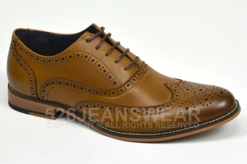 Cavani Mens Leather Peaky Blinders Brogue Lace Up Oxford Smart Formal Shoes,BNWT
