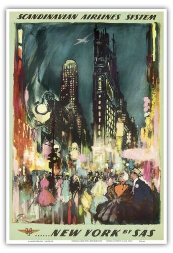 New York USA Times Square Vintage Airline Travel Art Poster Print