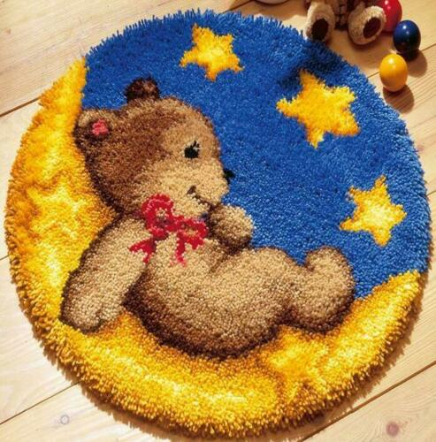 ROUND IN CHINA 50 X 50 CM LATCH HOOK RUG KIT TEDDY BEAR ON MOON