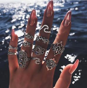 11 Pcs Set Bohemian Rings Gems Geometry Crystal Ring Set Fashion