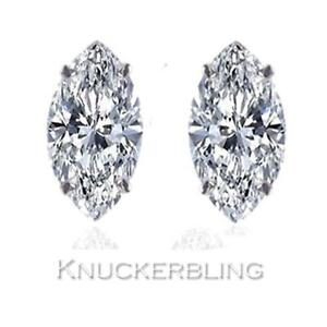 fd6d6975f6edc Details about 0.50ct Marquise Shape Certified F SI Diamond Solitaire Studs  in 18ct White Gold