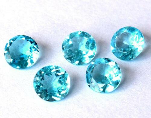NATURAL FLAWLESS FINE SWISS BLUE TOPAZ FACETED ROUND 7 MM 5 PCS #D18694