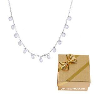925-Silber-Damen-Kette-Halskette-Collier-13-Zirkonia-Kristalle-Geschenke-Frauen