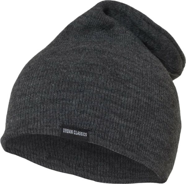 386af0d17940 URBAN CLASSICS LEATHERPATCH LONG BEANIE BASIC FLAP WINTER MÜTZE SLOUCH  WOLLMÜTZE. Hover to zoom