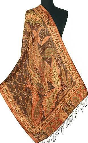 Reversible Silk Burgundy and Gold Wrap Jamawar Shawl Iridescent Pashmina Paisely