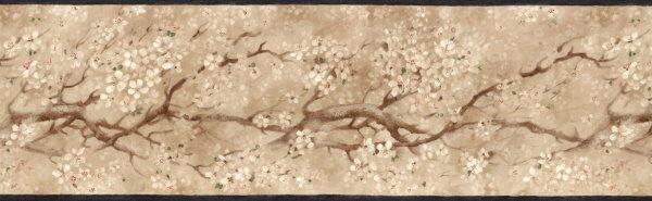 Asian Floral Dogwood Tree in Bloom with Black Edge Wallpaper Border EG022111B