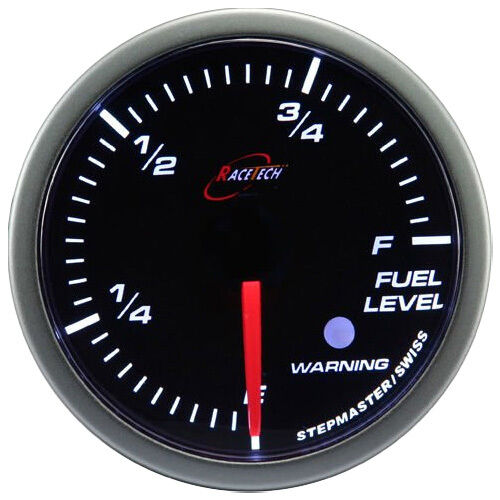 60mm Fuel Level Gauge Meter White LED Smoke Lens w//Adjustable OHM Levels Warning