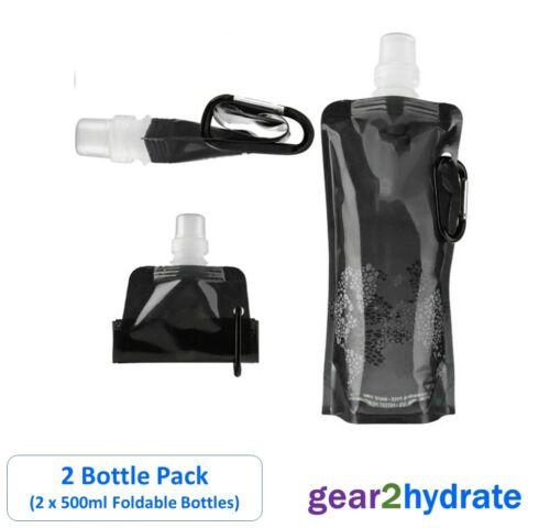 2 x 500ml Foldable Water Bottles Folding Drink Outdoor Sport Travel Running UK
