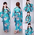 Vintage Yukata New Japanese Haori Women Kimono Costume Dress with Obi Robe Gown