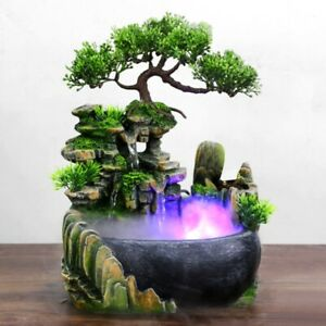 Waterfall Fountain Desktop Water LED Color Chang Rockery Table Home Feng Shui