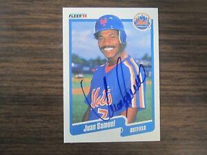 1990-Fleer-Baseball-215-Juan-Samuel-Autograph-Signed-Card-C3-New-York-Mets