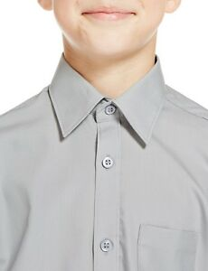 3-X-MARKS-amp-SPENCER-BOY-Ultimate-Non-Iron-Long-Sleeve-Shirts-GREY-NEW-SIZE-4-YR