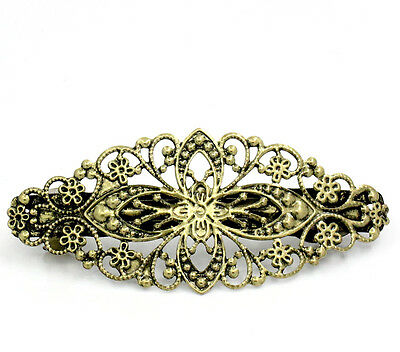 5 Bronze Tone Flower French Hair Barrette Clips Copper 80x35mm