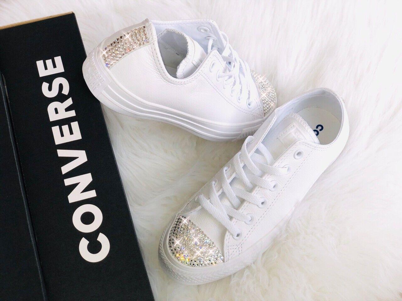 Converse All Star CT OX Weiß Leder mit Swarovski Elements Luxus Turnschuhe weiss