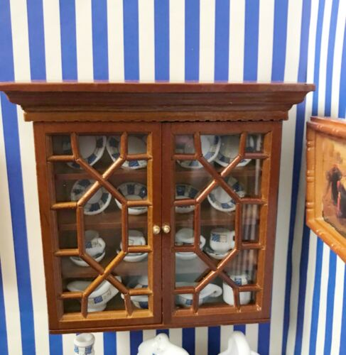 Dollhouse Miniature  Wooden  Empty  Walnut Wall Display Cabinet