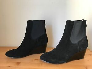 eae7e2f2842b TARYN ROSE KURI black suede patent wedge ankle boots shoes 9.5 40