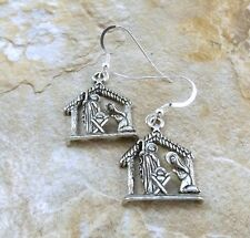 Pewter Nativity Scene Charms on Sterling Silver Ear Wire Dangle Earrings -5140