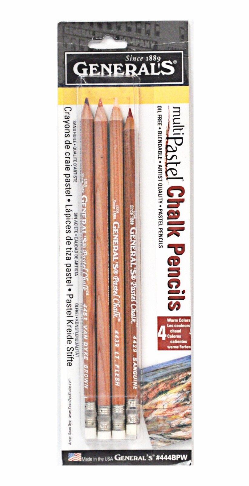 General Pencil 444BPW Pastel Chalk Pencils Warm 4 Pack Assorted