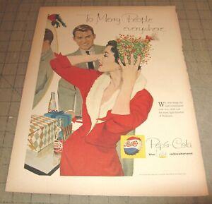 """1959 PEPSI-COLA 10.5"""" x 14"""" Life Magazine 1-Page Ad - Christmas Theme"""