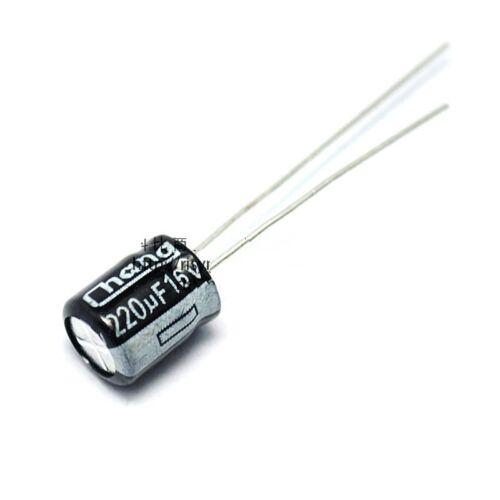 50PCS NEW 220uF 16V Electrolytic Capacitor 6.3x7mm 105C