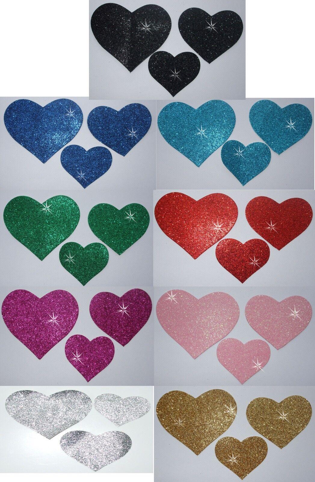 FABRIC GLITTER 3 HEART IRON-ON Kid birthday party craft fun activity patch