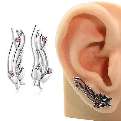 316L Surgical Steel Ear Vine Pin Wire Earring Pink Butterfly 20 Gauge 20G