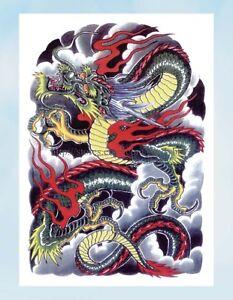 Fake Tattoo Chinese Dragon Strength Wisdom Large 8 25 Amp Amp Quot Half Sleeve Ebay