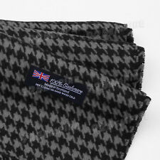 Men's 100 Cashmere Black Houndstooth Scarf Made in Scotland