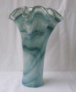 Italian Art Deco Glass Vase Blue Tammaro Italy Murano No 233 Mother's Day Gift