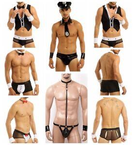 Men Stripper Costumes Tuxedo Briefs Mankini Waiter Policeman Cosplay Fancy Dress