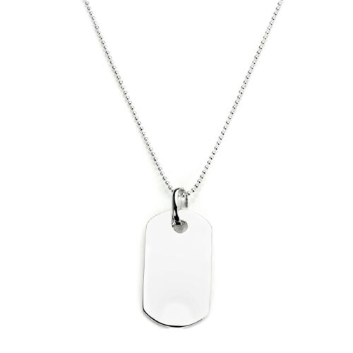 925 Sterling Silver Plain Personalised Dog Tag Pendant Necklace 1mm Bead Chain