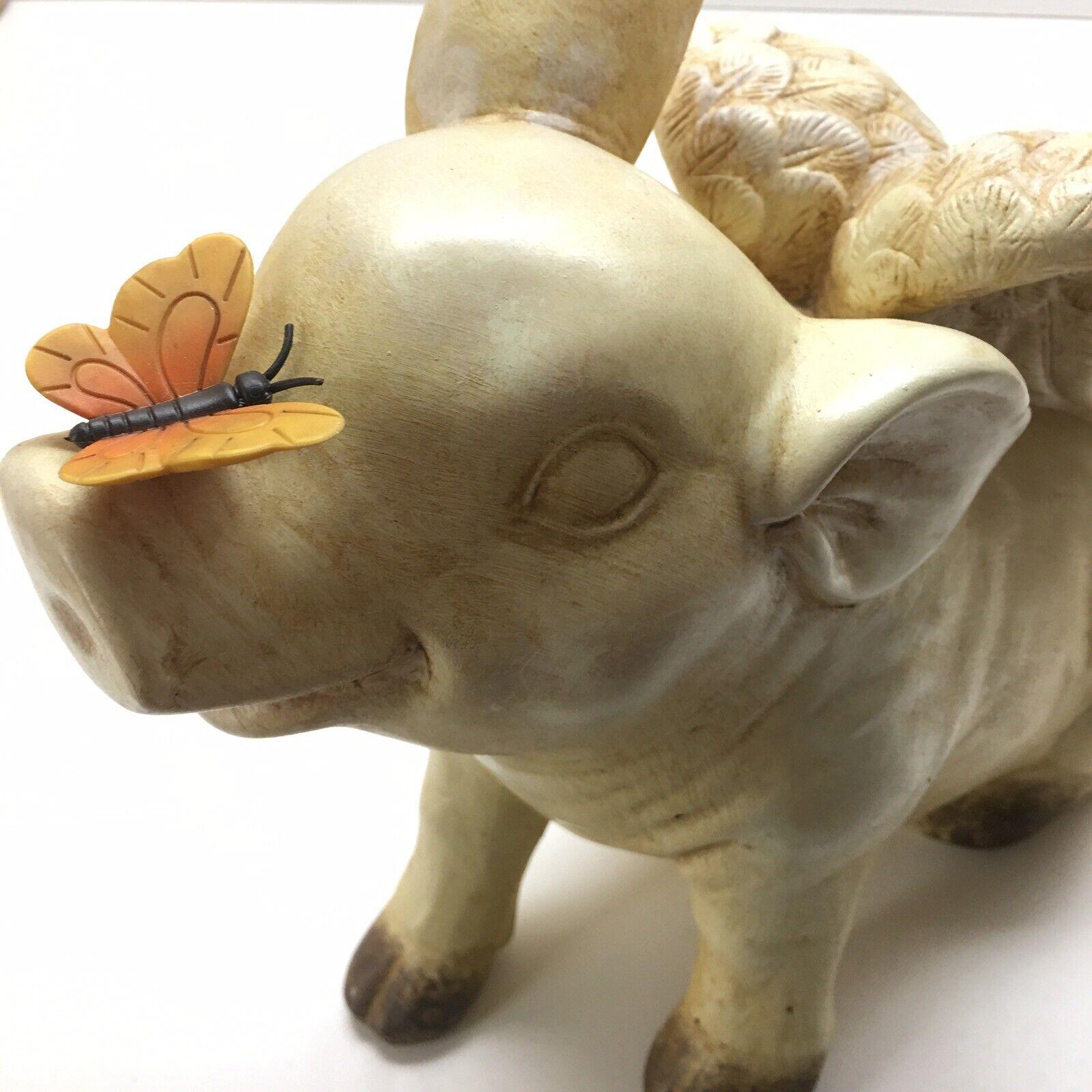 "PIG When Pigs Fly Wind Chimes 14"" Outdoor GardenHome Decor Ceramic HandmadeNEW"