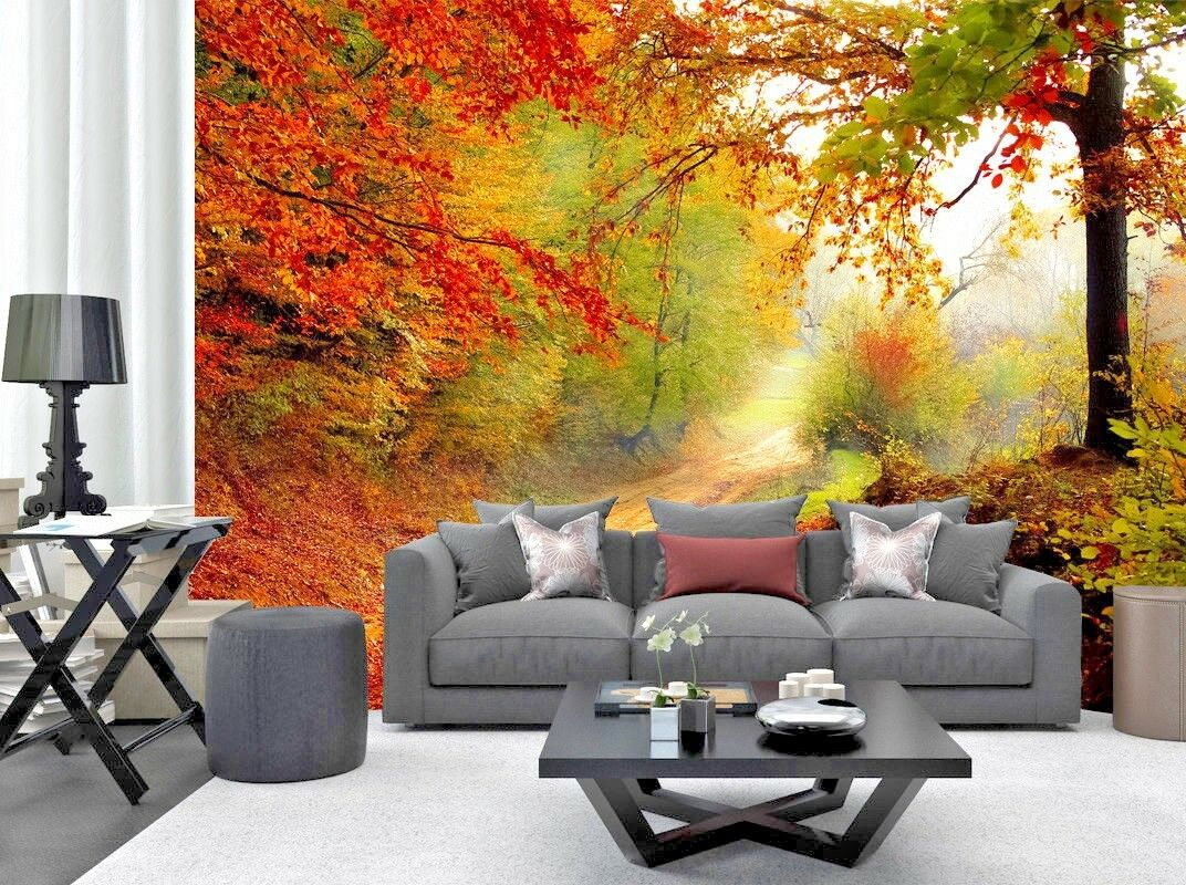 Tree Leaves Plants Forest Autumn Photo Wallpaper Mural Home Poster Decoration