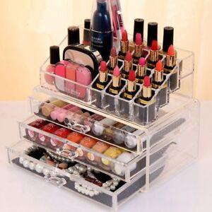 Acrylic Jewelry Makeup Cosmetic Organizer Case Display Holder