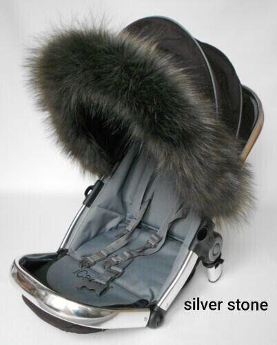Luxury Pram Fur Hood Fur Trim Baby Pram Pushchair Carrycot Buggy Universal Fit 1