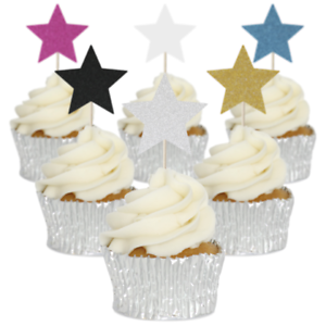 Image Is Loading Star Cupcake Toppers 12pk Birthday Party Decorations Glitter