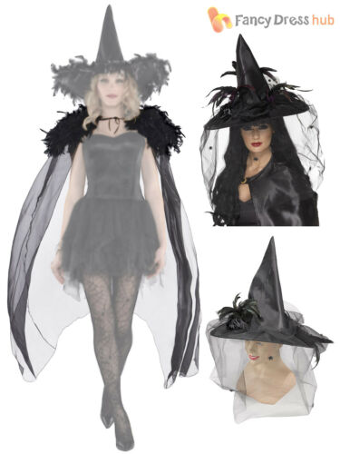 Ladies Black Feathered Cape Cloak Witch Evil Queen Halloween Fancy Dress Costume