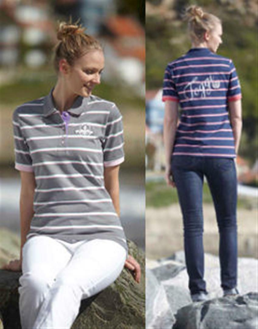Toggi Tissey Ladies Cotton Classic Polo Shirt - Slate or Navy Stripe