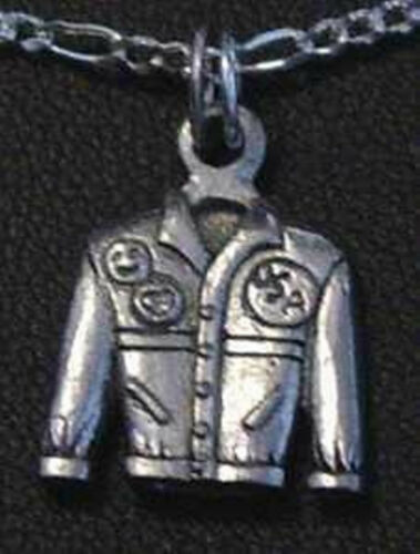 Leather motorcycle jacket biker sterling silver Charm