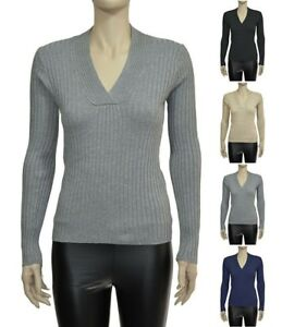 Croft-amp-Barrow-Ladies-Stretchy-V-Neck-Long-Sleeve-Cable-Knit-Sweater-S-XXL