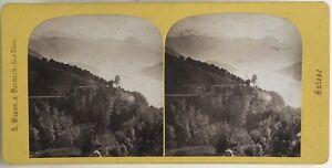 Suisse Chemin Da Ferro Rigi Lac IV Foto A. Braun Stereo Vintage Albumina c1865