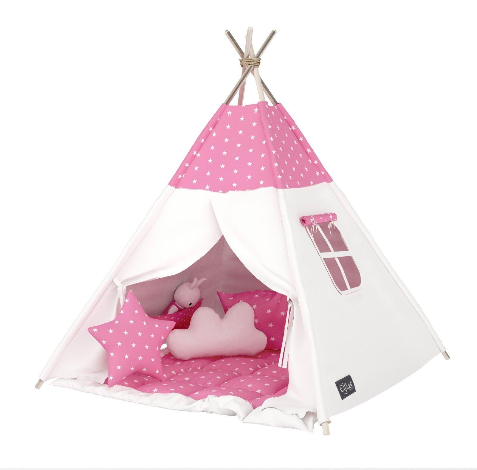 Elfique New Tipi Tenda Tenda Giocattolo con Imbottito Coperta Bianco rosa
