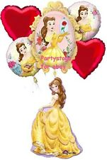 DISNEY PRINCESS BELLE BEAUTY AND THE BEAST BIRTHDAY PARTY BALLOONS RED HEARTS