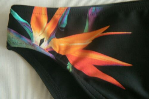 M/&S Black Tropical Bikini Briefs Bottoms High Leg Size 8 10 12 NEW TAGS £14