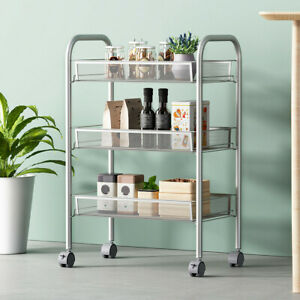 3 Tier Small Wire Rolling Storage Cart