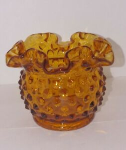 Vintage-Fenton-Art-Glass-3-034-Amber-Gold-Hobnail-Ruffled-Open-Rose-Bowl-Vase-1980s