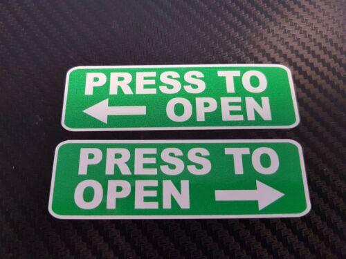 5 x Qté 80 x 25 mm Paire Vert Appuyez pour ouvrir Arrow-Autocollant Imprimé Autocollant