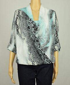 cccce6a735e20 Alfani Womens Black Aqua Roll-Tab Snake Print Surplice Blouse Top 6 ...