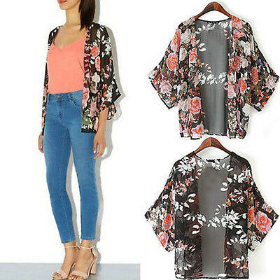 Zanzea Ladies Flower Shawl Kimono Batwing Sheer Chiffon Cardigan Outwear S-5XL
