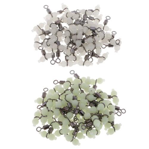 50Pcs//pack 3 Way Luminous Fishing Swivel Cross Line Rolling Beads Connectors